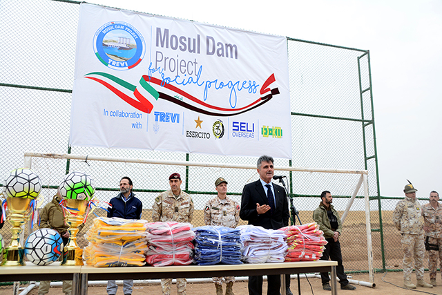 Trevi restores the soccer field in Mosul Trevi spa