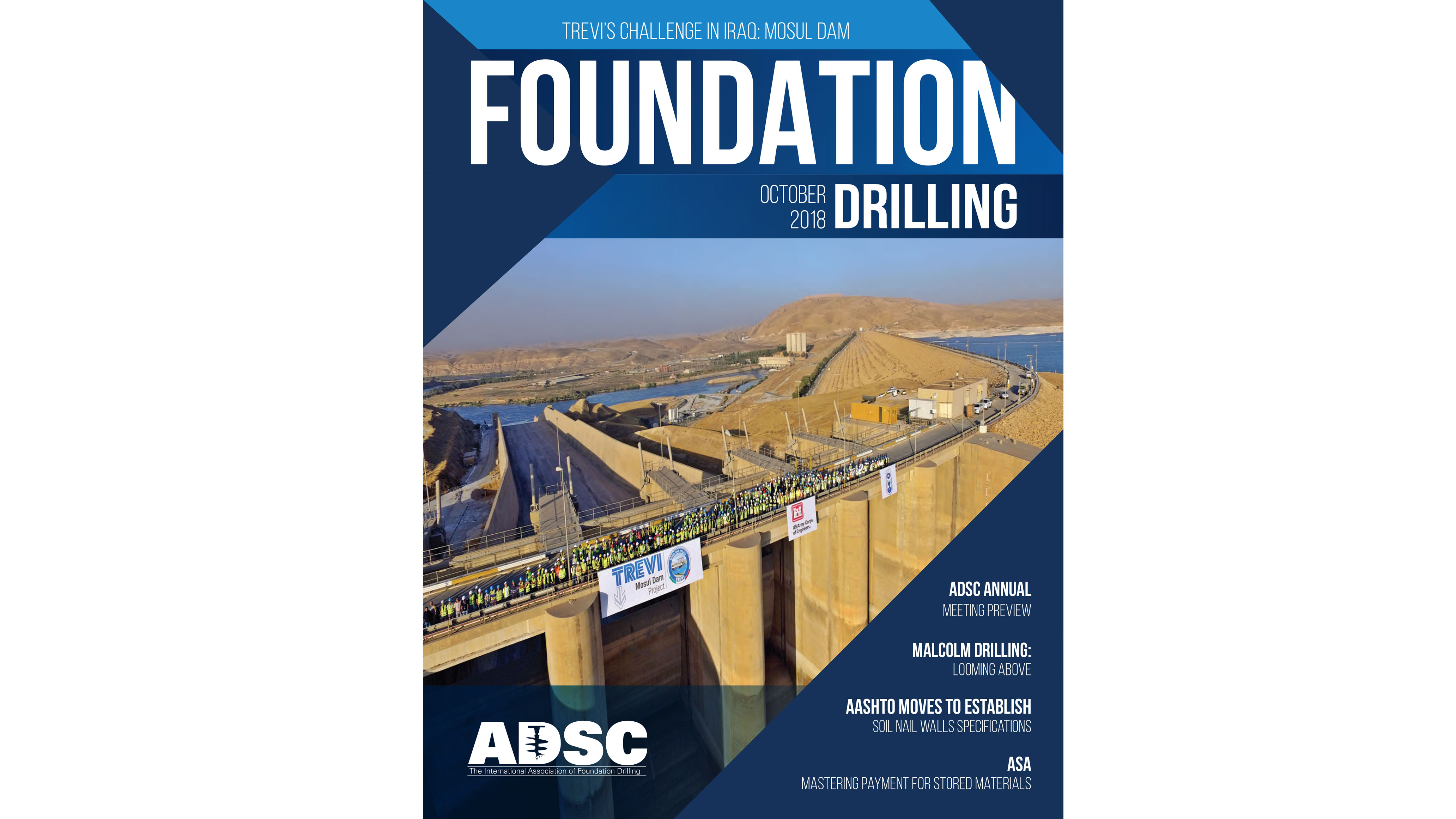 MOSUL JOBSITE ON THE COVER OF ADSC FOUNDATION DRILLING MAGAZINE | Trevi Spa 1